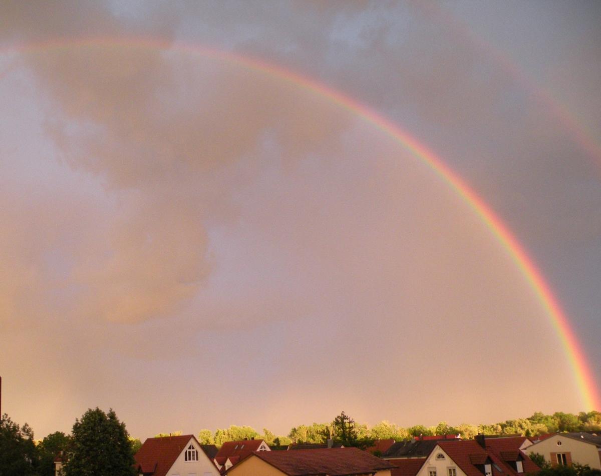 Regenbogen über Hebertshausen mit von der Sonne beleuchteten Baumwipfeln