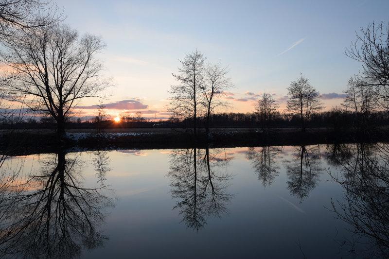 Weiher im Sonnenuntergang