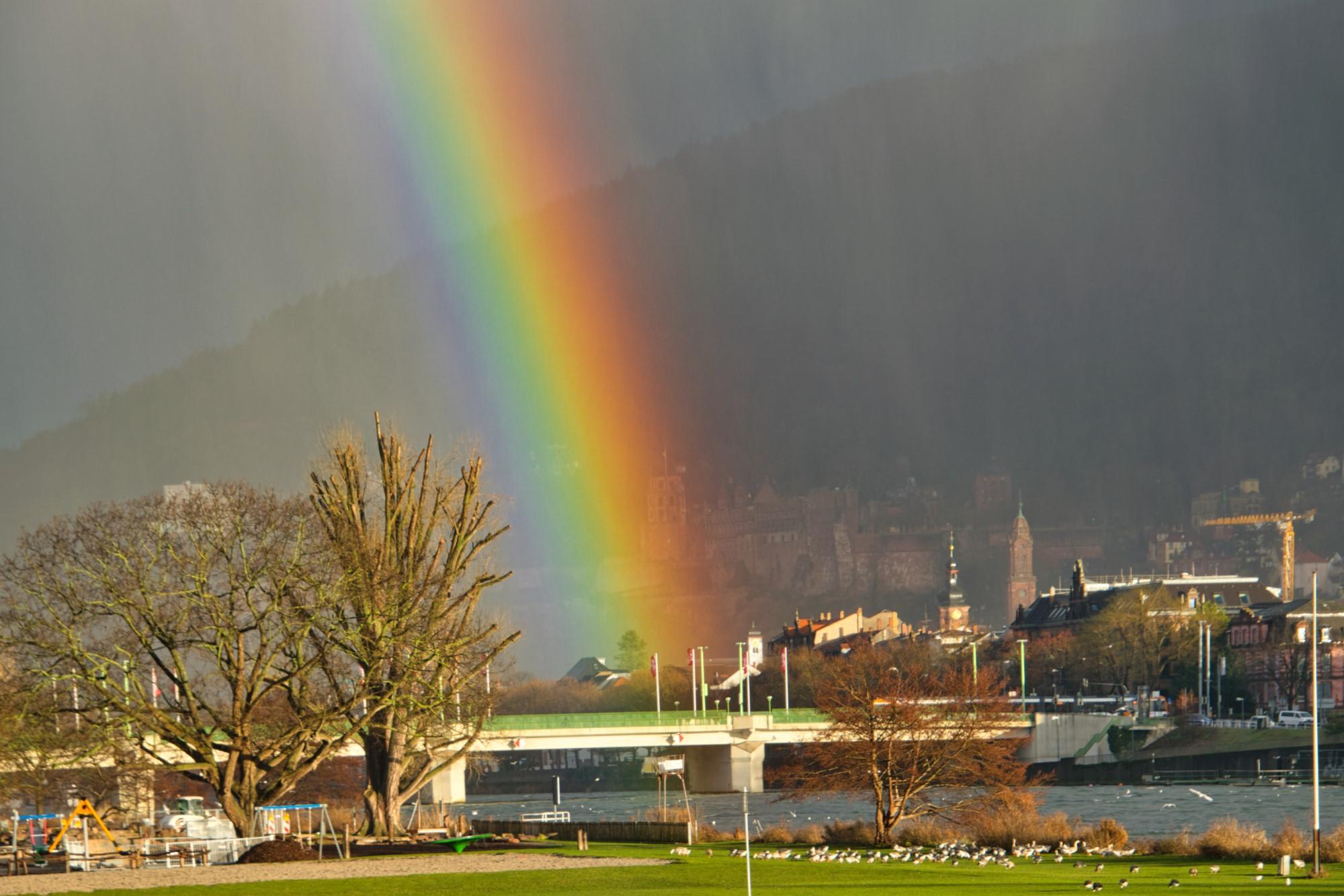 Heidelberger Schloß mit Regenbogen